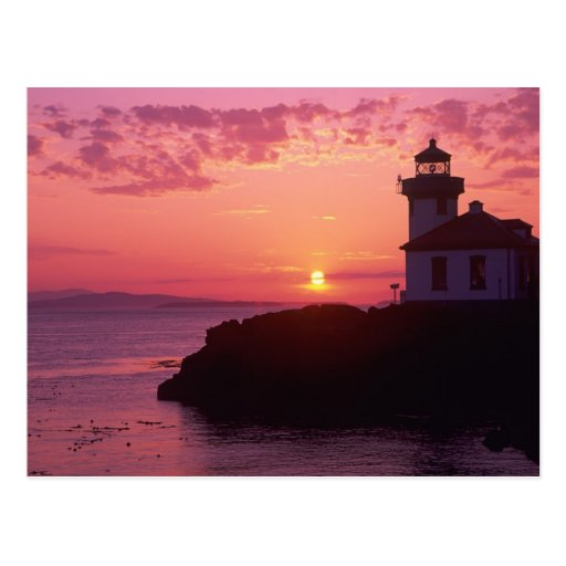 WA, San Juan Island, Lime Kiln Lighthouse, 1919, Postcards