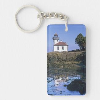 WA, San Juan Island, Lime Kiln lighthouse Keychain