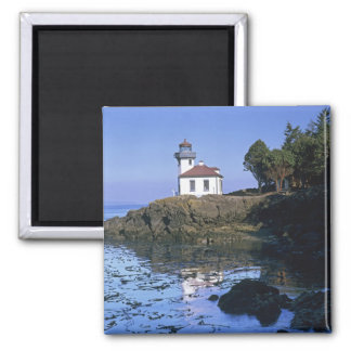 WA, San Juan Island, Lime Kiln lighthouse 2 Inch Square Magnet
