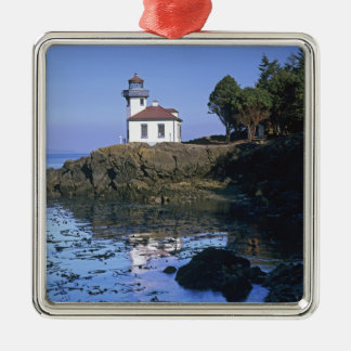 WA, San Juan Island, Lime Kiln lighthouse Metal Ornament
