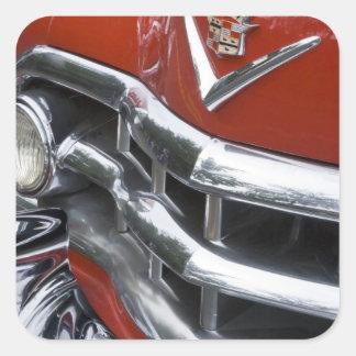 WA, Seattle, automóvil americano clásico. 4 Calcomania Cuadradas Personalizadas