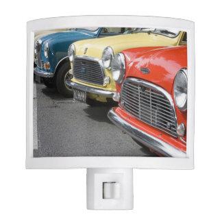 WA, Seattle, classic British automobile. Night Light