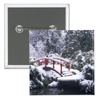 WA, Seattle, Moon bridge and pond after winter 2 Inch Square Button