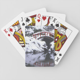 WA, Seattle, Moon bridge and pond after winter 2 Playing Cards