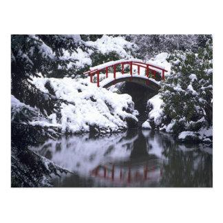 WA, Seattle, Moon bridge and pond after winter 2 Postcard