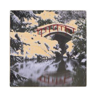 WA, Seattle, Moon bridge and pond after winter 2 Wood Coaster