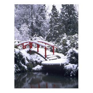 WA, Seattle, Moon bridge and pond after winter Postcard