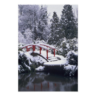 WA, Seattle, Moon bridge and pond after winter Poster