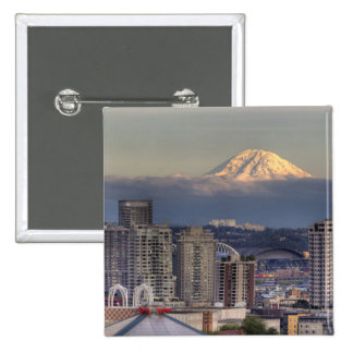 WA, Seattle, Mount Rainier from Kerry Park 2 Inch Square Button