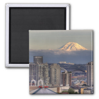 WA, Seattle, Mount Rainier from Kerry Park 2 Inch Square Magnet