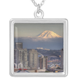 WA, Seattle, Mount Rainier from Kerry Park Personalized Necklace