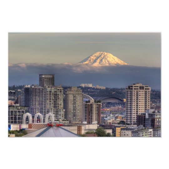 WA, Seattle, Mount Rainier from Kerry Park Photo Print