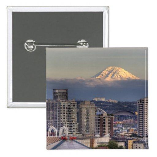 WA, Seattle, Mount Rainier from Kerry Park Pinback Button