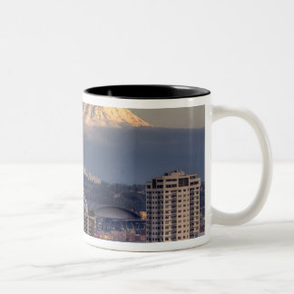 WA, Seattle, Mount Rainier from Kerry Park Two-Tone Coffee Mug