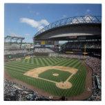 WA, Seattle, Safeco Field, Mariners baseball Large Square Tile