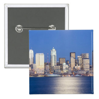 WA, Seattle, Seattle skyline and Elliott Bay, 2 2 Inch Square Button
