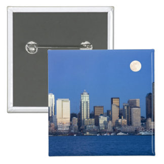 WA, Seattle, Seattle skyline and Elliott Bay 2 2 Inch Square Button