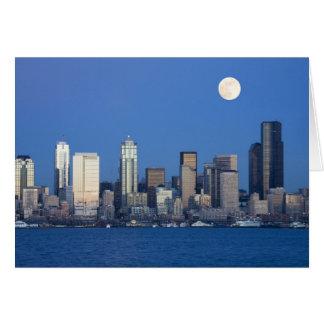 WA, Seattle, Seattle skyline and Elliott Bay 2 Card
