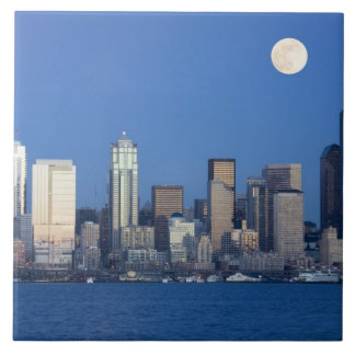 WA, Seattle, Seattle skyline and Elliott Bay 2 Ceramic Tile