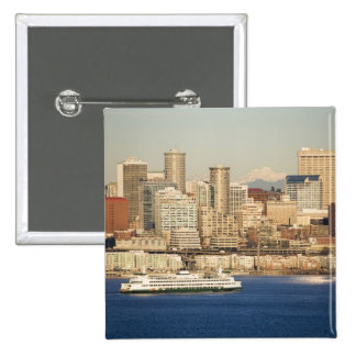 WA, Seattle, Seattle skyline and Elliott Bay 2 Inch Square Button