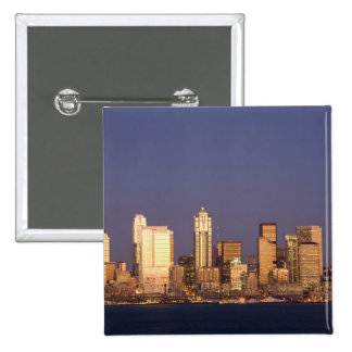 WA, Seattle, Seattle skyline and Elliott Bay, 2 Inch Square Button