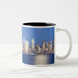 WA, Seattle, Seattle skyline and Elliott Bay, 2 Coffee Mugs
