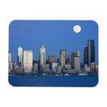 WA, Seattle, Seattle skyline and Elliott Bay 2 Vinyl Magnet
