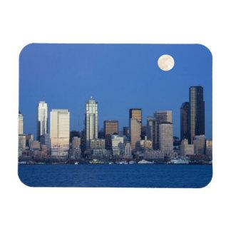 WA, Seattle, Seattle skyline and Elliott Bay 2 Rectangular Photo Magnet
