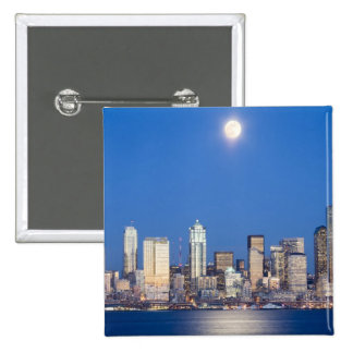 WA, Seattle, Seattle skyline and Elliott Bay 3 2 Inch Square Button