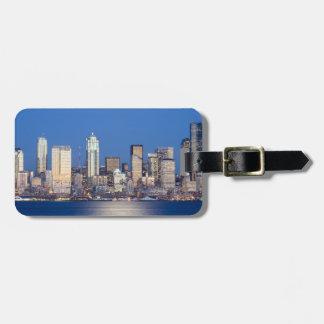 WA, Seattle, Seattle skyline and Elliott Bay 3 Bag Tag