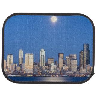 WA, Seattle, Seattle skyline and Elliott Bay 3 Car Floor Mat