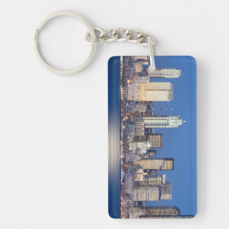 WA, Seattle, Seattle skyline and Elliott Bay 3 Double-Sided Rectangular Acrylic Keychain