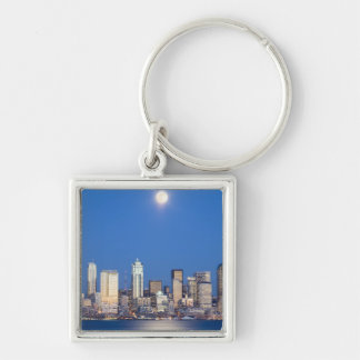 WA, Seattle, Seattle skyline and Elliott Bay 3 Keychain