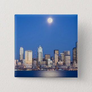 WA, Seattle, Seattle skyline and Elliott Bay 3 Pinback Button