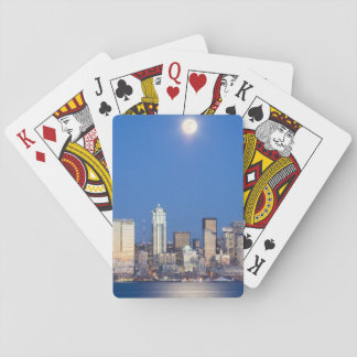 WA, Seattle, Seattle skyline and Elliott Bay 3 Playing Cards
