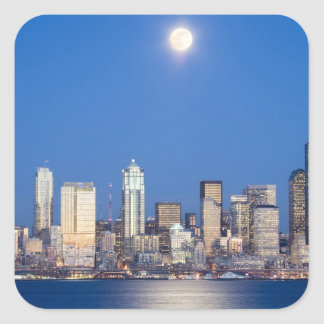 WA, Seattle, Seattle skyline and Elliott Bay 3 Square Sticker