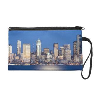 WA, Seattle, Seattle skyline and Elliott Bay 3 Wristlet Purse
