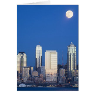 WA, Seattle, Seattle skyline and Elliott Bay 4 Greeting Cards