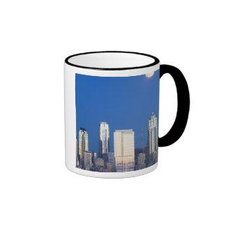 WA, Seattle, Seattle skyline and Elliott Bay 4 Coffee Mugs
