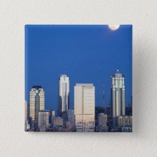WA, Seattle, Seattle skyline and Elliott Bay 4 Pinback Button