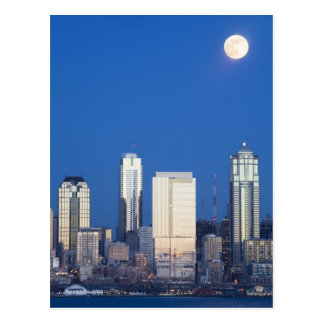 WA, Seattle, Seattle skyline and Elliott Bay 4 Post Card