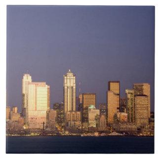 WA, Seattle, Seattle skyline and Elliott Bay, Ceramic Tile
