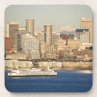WA, Seattle, Seattle skyline and Elliott Bay Beverage Coaster