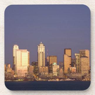 WA, Seattle, Seattle skyline and Elliott Bay, Beverage Coaster