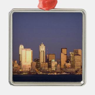 WA, Seattle, Seattle skyline and Elliott Bay, Christmas Tree Ornament