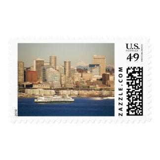 WA, Seattle, Seattle skyline and Elliott Bay Postage Stamp