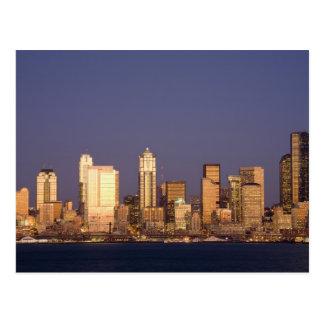 WA, Seattle, Seattle skyline and Elliott Bay, Postcard