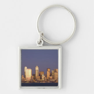 WA, Seattle, Seattle skyline and Elliott Bay, Silver-Colored Square Keychain