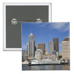 WA, Seattle, Seattle skyline with ferry boat 2 Inch Square Button