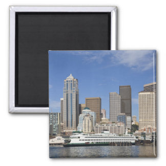 WA, Seattle, Seattle skyline with ferry boat 2 Inch Square Magnet